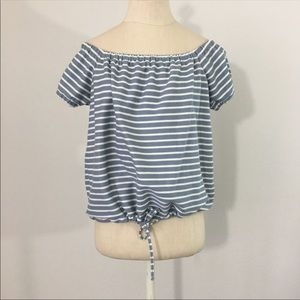Madewell blue and white stripe top off Shoulder